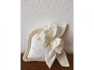 Stoff-Herz klein mit Perlen - handmade - beige