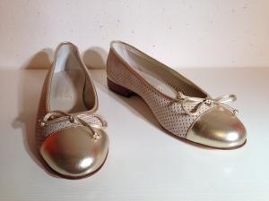 Gabriele - Leder-Ballerina - beige / gold