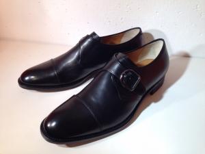 Calpierre - exklusiver Leder-Herrenschuh mit Schnalle - schwarz